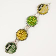 Vtg Bottle Cap w/ Cork Bracelet Handmade OOAK Art Rhinestone Soda Pop Tom Collin
