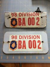Army 98th Division License Plate Aluminum Vehicle ID Take A Look! Unique 98
