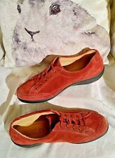 Hotter Red Suede Walking Comfort  Lace Up Shoes Style 'Raven' SZ 8 Worn Twice.