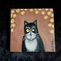 Cat Original Miniature 5 in x 5 in acrylic painting on canvas