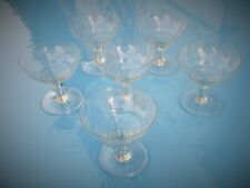 SET OF 6 1940s  FRENCH VINTAGE ENGRAVED CHAMPAGNE GLASSES, COUPES, SAUCERS.
