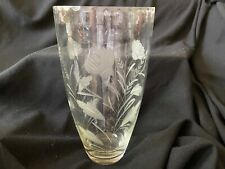 Vase Etched Crystal Cut 12.5""