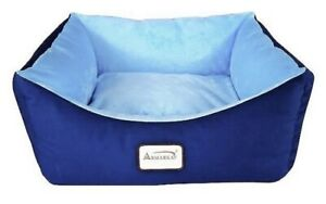Armarkat Bolster Cat & Dog Bed w/Removable Cover, Navy Blue/Sky Blue; Brand New!