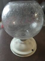 Vintage Light Fixture With Hand Blown Glass Clear Globe