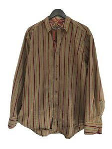 Men's Robert Graham Brown Striped Long Sleeve Dress Shirt XL