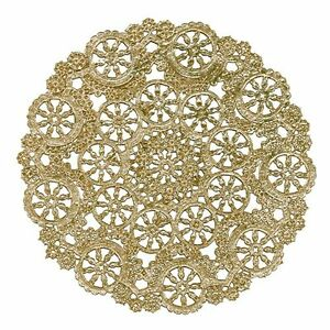 "100 - 8"" GOLD Metallic Foil MEDALLION PAPER LACE DOILIES 