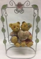 """Vtg Collectible SWEETHEARTS ON SWING Brown Teddy Bear """"I LOVE YOU"""" Resin/ Metal"""