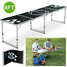 8FT Foldable Aluminum Beer Pong Table Indoor Outdoor Party Drinking Game Sport