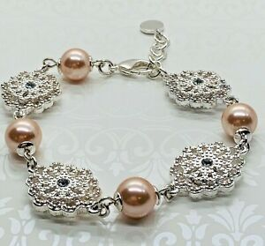 Charter Club Women's Bracelet Silver Tone Faux Pearls Clear Crystals New