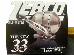 Zebco 33 Authentic Platinum Spincast Reel, Brand New in Box ~ USA SELLER