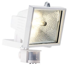 120W PIR Floodlight White Eco Halogen Exterior Security Floodlight c/w bulb