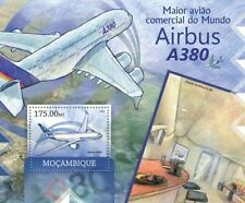 AIRBUS A380 Superjumbo Double-Decker Aircraft Stamp Sheet (2012 Mozambique)