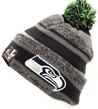 New Era Seattle Seahawks Sport Knit On Field Gray Cuff Fleece Beanie Pom Hat Cap