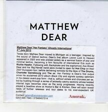 (CZ31) Matthew Dear, Her Fantasy - 2012 DJ CD