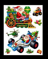 Cute Christmas Window Stickers - Racing Car + Train Stickers (DP63) A