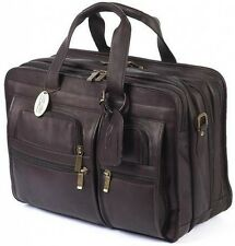 Claire Chase Leather Executive Computer Laptop Brief Extra Wide Briefcase - Cafe