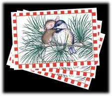 Vintage House Mouse SRM Hugging Bird Christmas Stickers Lot 3 Sheets Retired
