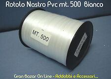 NASTRO da REGALO BIANCO 500 mt 5mm PVC LUCIDO anche per PALLONCINI RESISTENTE