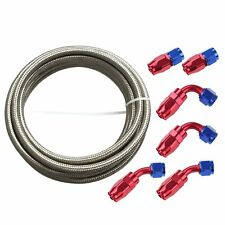 6AN 12Ft SL Stainless Steel Braided Fuel Line + 6Pc RDBU Swivel Fitting Hose End