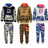 Boys Kids Army Camouflage Print Fleece Tracksuit Jogging Suit Bottom Hoodie
