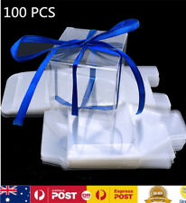 100X 5CM Clear Macaron Square Boxes Bomboniere Wedding Favour Baby Shower