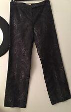 NWOT Michael KORS Silk Blend  Black Graffiti Trousers Pants US Sz 10