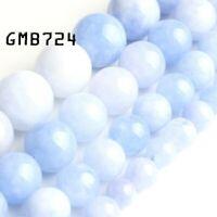 Light Blue Angelite Stone Round Loose Beads 15'' Strand Jewelry Making