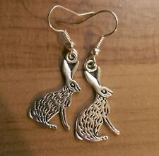 Silver hare rabbit earrings boho animal pagan hedgewitch
