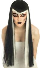 Long Noir & Blanc Vampiress Halloween perruque robe fantaisie