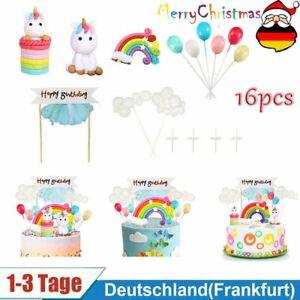 Tortendeko Geburtstag Einhorn, 16 Stück Cake Topper mit Happy Birthday Girlande