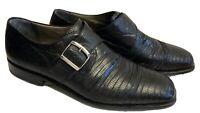 Gorgeous Moreschi Fine Italian Black Lizard Skin Dress Shoes Size 10 M Buckle 44