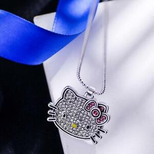 Big Hello Kitty Cat Kitten White Gold Silver Cubic Zirconia Pendant Necklace
