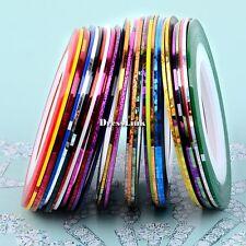 DIY 30Pz colori misti Nail Art nastro FILI Striping Tape Adesivo DECORAZIONI