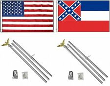 3x5 Usa American & State of Mississippi Flag & 2 Aluminum Pole Kit Sets 3'x5'