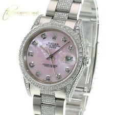 Rolex LADY Watch Date Stainless Steel Fully Loaded REAL DIAMONDS Pink MOP 34mm