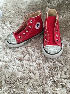 Girls Converse High Tops, Red, Infant Size 6, Crystal Detail