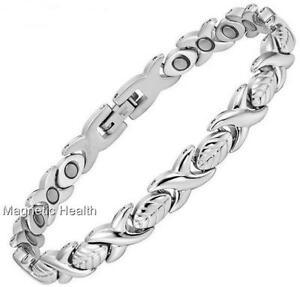 LADIES STAINLESS STEEL MAGNETIC BRACELET CARPAL TUNNEL ARTHRITIS PAIN RELIEF 298
