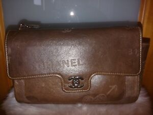 Women's Authentic Vintage Chanel Brown Leather Graffiti Handbag