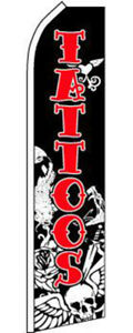 Tattoos Black White Red Swooper Super Feather Advertising Marketing Flag