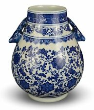 Classic Blue and White Floral Porcelain Vase, Double Deer Head Handles China ...