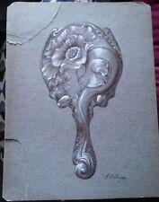 Antique Victorian Silver Hand Mirror Design Drawings Original Artwork #1