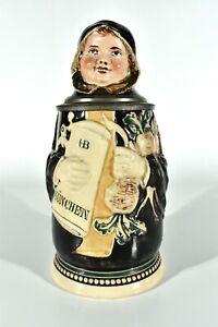 J.Reinemann München Keramik Figurenkrug ° Bierkrug MÜNCHNER KINDL nach 1910