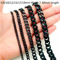 5/8/10/12/15/17/19mm Heavy Black Cuban Link Chain Stainless Steel Men's Necklace