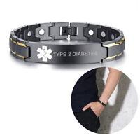Men Medical Alert Health Therapy Bracelet Magnet Bangle Engraved TYPE 2 DIABETE