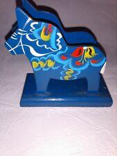 Scandinavian Napkin Holder Dala Blue Horse, Hand Painted