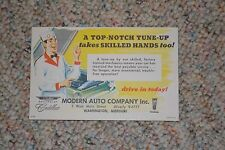 VINTAGE 1960's AUTOMOTIVE MAIL SERVICE CARD FROM MODERN AUTO TUNE-UP SERVICE