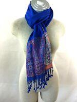 Scarf blue pink paisley 67 x 27 fringes soft cotton
