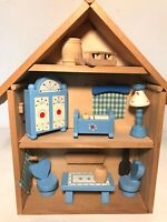 Vintage SEVI Miniature Wooden Doll House With Accessories Hand-painted ITALY