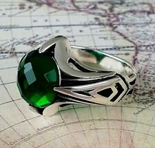 Turkish Ottoman  Green Emerald Solid 925 Sterling Silver Men Ring Gemstone