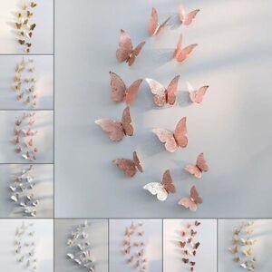 12pcs 3D Butterfly Home Decor Art Wall Stickers Decals Wedding Bedroom Mural Set